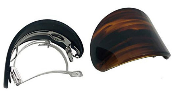 Parcelona French Curved Wide Adjustable Shell Black Ponytail Hair Clip Barrettes