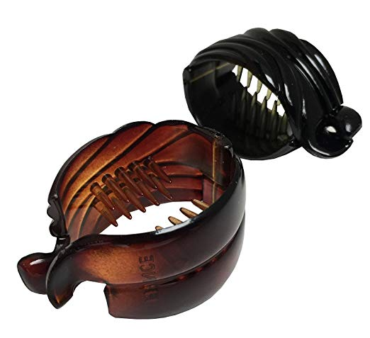 Parcelona French Snapper Small Set of 2 Shell N Black Celluloid Fish Banana Clips for Fine Hair