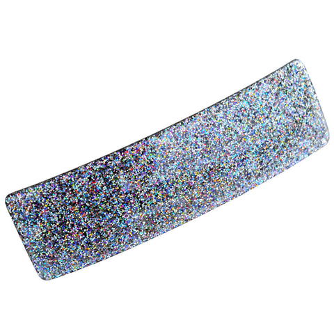 "French Amie Rectangular Silver Glitter 3.25"" Strong Celluloid Acetate Handmade A"