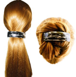 Parcelona French Streaky Black Silver Curved Strong Grip Volume Hair Clip Barrette