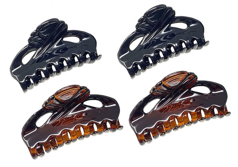 Parcelona French Poppy Tortoise Shell Brown and Black Small Celluloid Set of 4 Good Grip Hair Claw