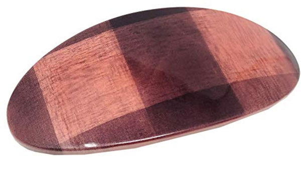 Parcelona French Oval Wide Salmon Brown Checks Automatic Hair Clip Barrette