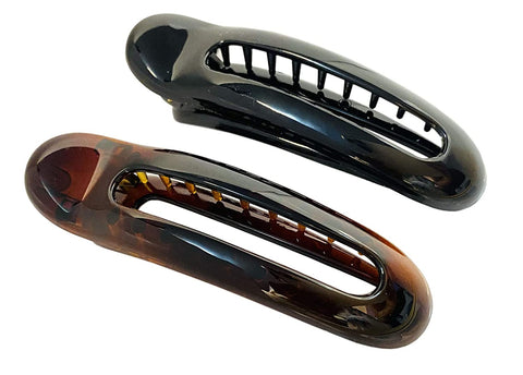 "Parcelona French Oval Slider Brown and Black Small 3"" Celluloid Set of 2 Side Hair Claws"