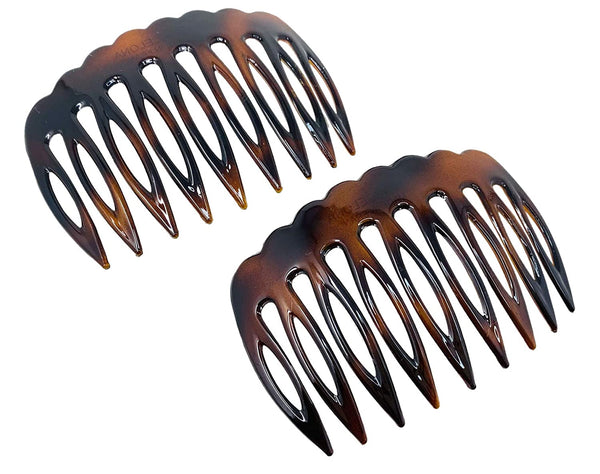 Parcelona French Scallop Edge Brown Small 9 Teeth Good Grip Hair Side Combs- 2 pcs