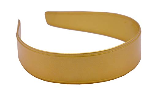 Parcelona French Band Golden Yellow Wide Flexible Celluloid Hair Headband