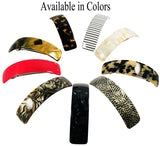French Amie Curved Black Large Handmade Celluloid Automatic Hair Clip Barrette