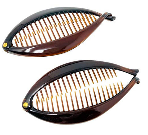 Parcelona French Basic Fish Shaped Tortoise Shell Brown Banana Hair Clips 2 Pcs