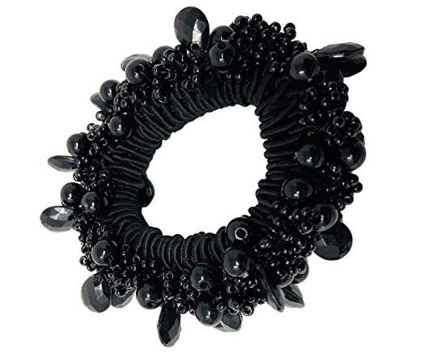Moeni Beaded Black Elastic Hair Ponytail Scrunchy for Girls and Women