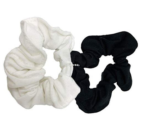 Moeni Plain Knit Black White Elastic Ponytail Hair Scrunchies for Girls N Women