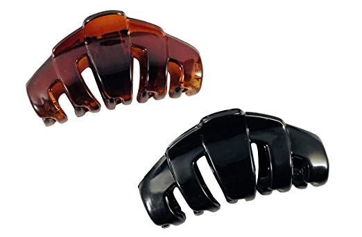 Parcelona French Tubular Small Tortoise Shell Black Jaw Hair Claw Clips