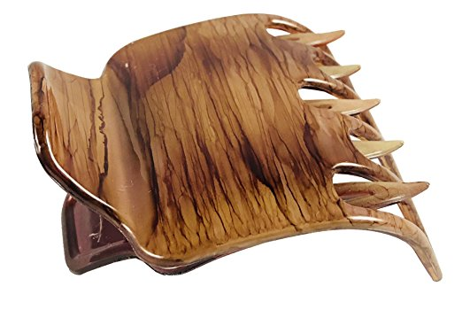 Parcelona French Paw Brown Streaks Medium Wide Hair Side Slider Claw Clip
