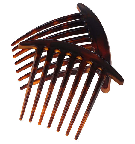 Parcelona French Basic 7 Teeth Shell Matte Large Celluloid Side Hair Combs 2 Pcs