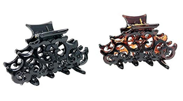 Parcelona French Beau Small Set of 2 Shell & Black Jaw Hair Claw Clip