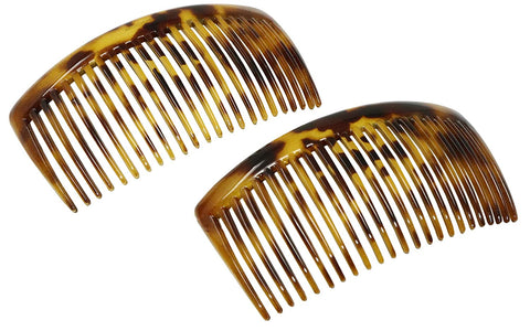 Parcelona French Large Light Shell 23 Teeth Celluloid Hair Side Combs 4.5 Inch