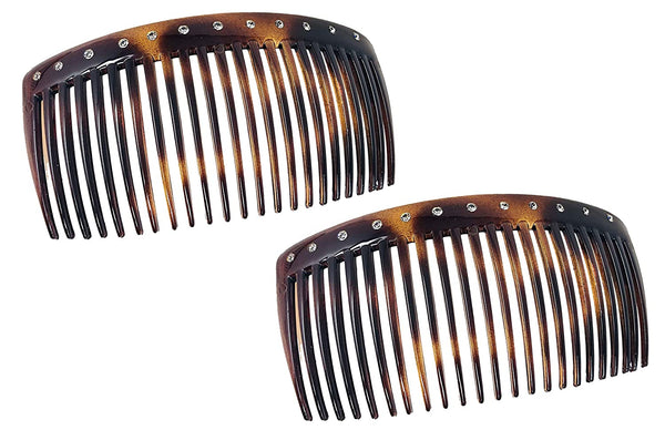 "Parcelona French Glossy Crystals Brown Large 4 1/4"" Set of 2 Good Grip 23 Teeth"