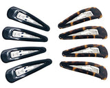 Parcelona French Medium Black and Shell Pack of 8 Clic Clac Metal Snap Hair Pins