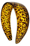 Parcelona French Wide Leopard Print Mustard Yellow Flexible Celluloid Headband