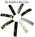 French Amie Oblong White Striped Handmade 3.5 Inch Celluloid Hair Clip Barrette
