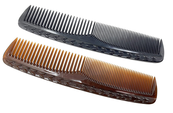 Parcelona French Bordered Shell N Black Celluloid Toothed Pocket Hair Comb 2Pcs