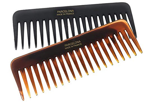 Parcelona French Fluffy Large Set of 2 Shell Black Wide Tooth Volume Hair Combs
