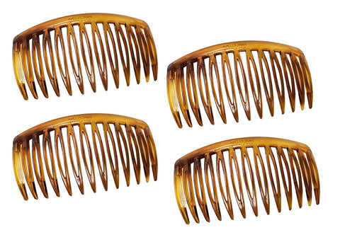 "Parcelona French Chic Curve Light Mahogany Small 2 3/4"" Set of 4 Flexible Side Hair Combs"