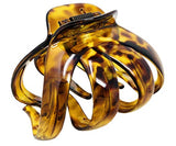 Parcelona French Octopus Large Wide Leopard Print Mustard Yellow Jaw Hair Claw