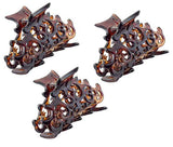 Parcelona French Beau Mini Set of 3 Shell Celluloid Jaw Hair Claws