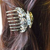 French Amie Wow Grip Onyx Silver Small Handmade Side Slide Jaw Claw Hair Clip-FRENCH AMIE-ebuyfashion.com