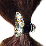 French Amie Tubular Wide Onyx Silver Handmade Jaw Hair Claw Clip Clamp Clutcher-French Amie-ebuyfashion.com