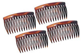 Parcelona French Oval Cut 13 Teeth Shell Good Grip Side Hair Combs 4 Pcs