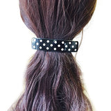 French Amie Black with White Polka Dots Large Handmade Hair Clip Hair Barrette-French Amie-ebuyfashion.com