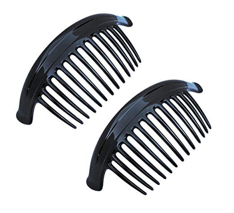 Parcelona French Arch Extra Large Black 13 Teeth Interlocking Side Hair Combs