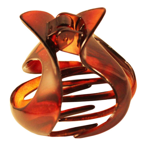 Parcelona France Open Heart Pony Medium Tortoise Shell Celluloid Hair Claw Clip-PARCELONA-ebuyfashion.com