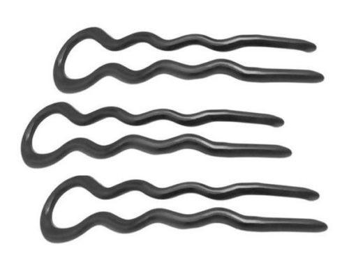 Parcelona French 3.5 Inches Large Wavy Black U Shaped Hair Pin 3 in Pack-PARCELONA-ebuyfashion.com