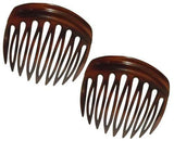 Parcelona French Arch 2 Pieces Celluloid Tortoise Shell 9 Teeth Hair Side Combs-PARCELONA-ebuyfashion.com