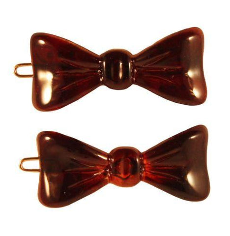 Parcelona French Bow 2 Pcs Medium 1 3/4 Inch Tortoise Shell Side Slide Hair Pins-PARCELONA-ebuyfashion.com
