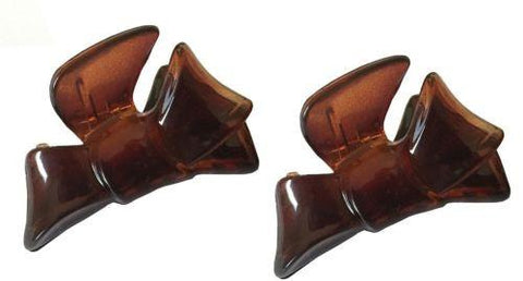 Parcelona French Bow Set of 2 Small Celluloid Shell Jaw Hair Claw Clamp Clutcher-PARCELONA-ebuyfashion.com