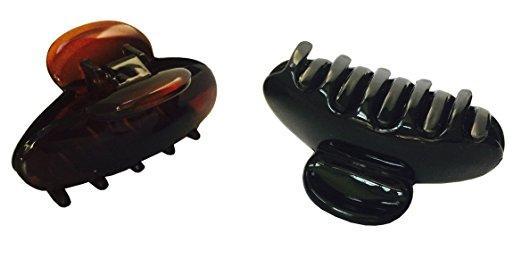 Parcelona French Clamp Black and Shell Small Celluloid Jaw Hair Claw Clip 2 Pcs-PARCELONA-ebuyfashion.com
