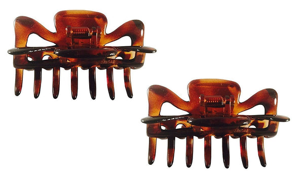 Parcelona French Classic Shaded Tortoise Shell Brown Medium Jaw Hair Claw 2 Pcs-Parcelona-ebuyfashion.com