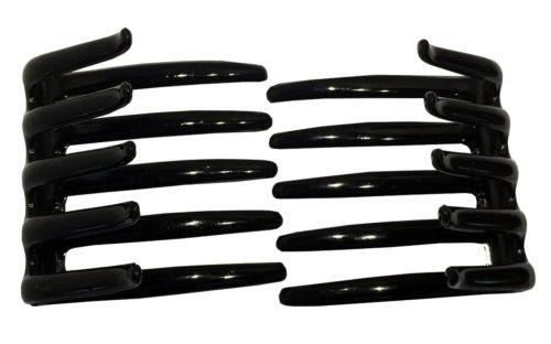 Parcelona French Crab Interlocking Medium Black Hair Clip Side Comb 2 1/4 Inches-Parcelona-ebuyfashion.com