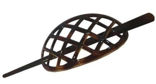Parcelona French Criss Cross Pattern Pin Thru Hair Slider Bun Cover With Stick-PARCELONA-ebuyfashion.com