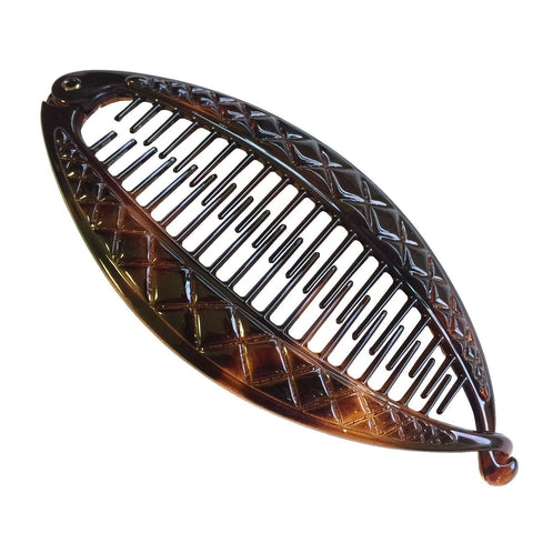 Parcelona French Crisscross Large Cellulose Tortoise Shell Banana Hair Clip-PARCELONA-ebuyfashion.com