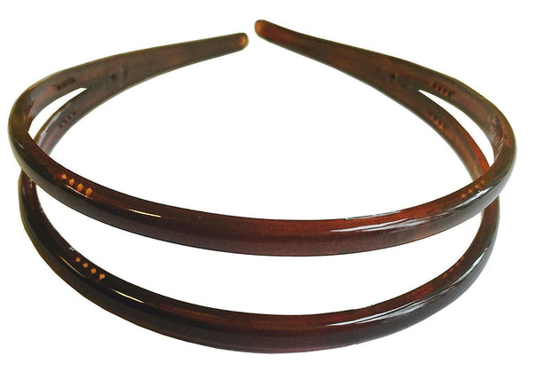 Parcelona French Duo Wide Tortoise Shell Celluloid Acetate Hair Headband-PARCELONA-ebuyfashion.com