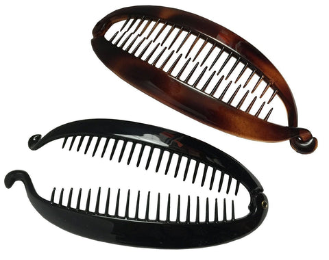 Parcelona French Elongated Shell Black Extra Large Ponytail Banana Hair Clip-PARCELONA-ebuyfashion.com