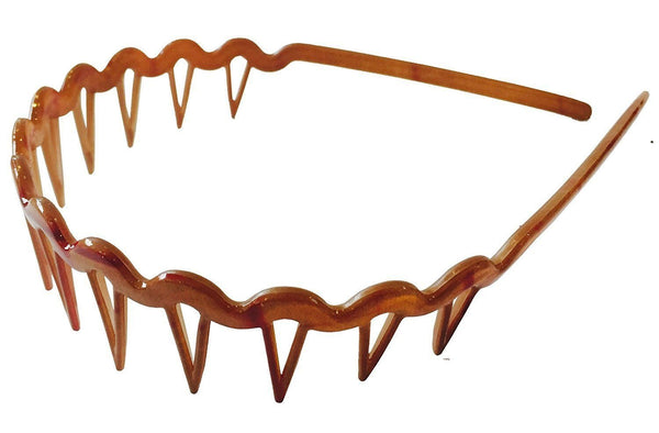 Parcelona French Epic Brown With Red Touch Comb Celluloid Hair Head Headband-PARCELONA-ebuyfashion.com