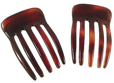 Parcelona French Five Fingers Shell Celluloid Acetate Side Slide Hair Combs-PARCELONA-ebuyfashion.com