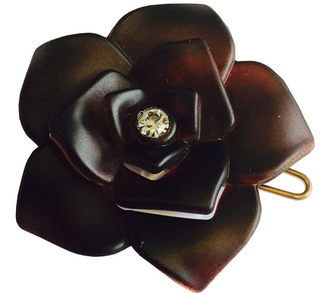 Parcelona French Flower Matte Finish Shell Crystal Side Slide Snap Barrette-PARCELONA-ebuyfashion.com