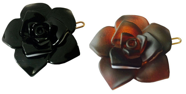 Parcelona French Flower Shell Black Celluloid Side Slide Barrette With Snap Pins-PARCELONA-ebuyfashion.com