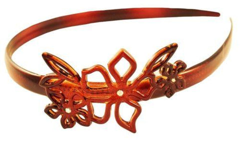 Parcelona French Flower with Crystal Shell Celluloid Hair Headband-PARCELONA-ebuyfashion.com