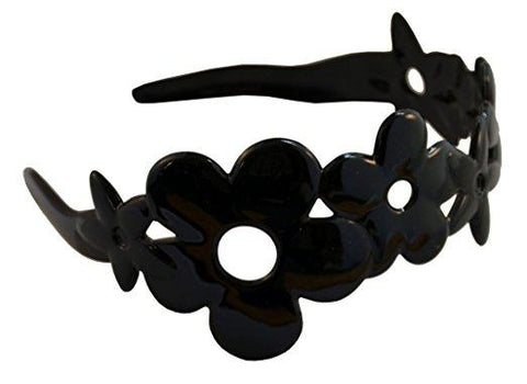 Parcelona French Girls Flower Black Celluloid Wide Hair Head Band Headband-PARCELONA-ebuyfashion.com